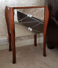 Laura Ashley Mirrored Charlston Bedside / Side Table