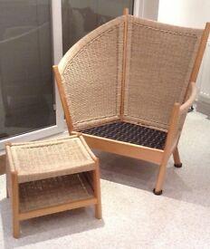 Conservatory / Garden Room Chair and Footstool - Tsantai Semarang range, Fairtrade Furniture Company