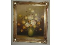 Original Oil Painting in gold coloured frame - Vase of Flowers