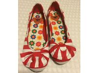 Size 7 (Euro 40) Red & White Striped Rocket Dog pumps