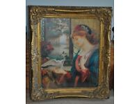 **Reduced** Heavy ornate gilt-framed picture, pre-Raphaelite style, of lady with dove
