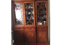 Yew wood veneer break front bookcase/display cabinet