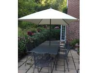 Garden Table, Parasol and 10 Chairs