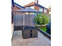 New rattan garden furniture cube table chairs patio set