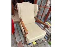 Oak framed Ercol Style Wing Back Armchair