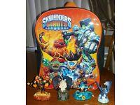 Skylanders figures and backpack
