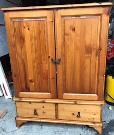 "TV cabinet on castors - pine - Solid piece , use as is or an excellent ""doer upper"" project"