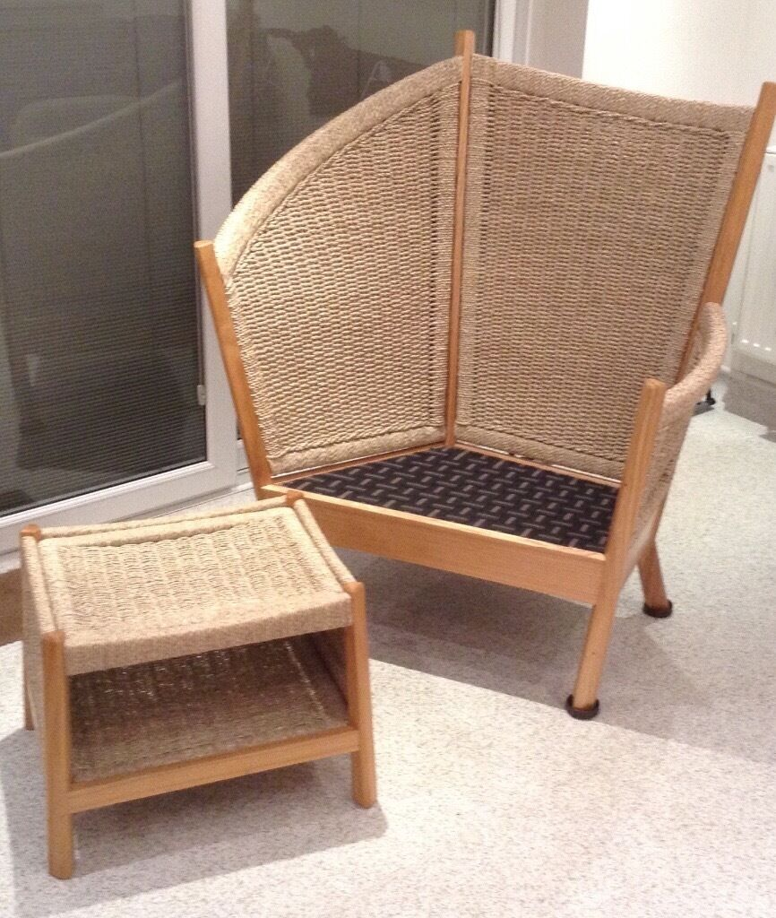 Indonesian Wood & Seagrass Chair and Footstool (Fairtrade Furniture ...