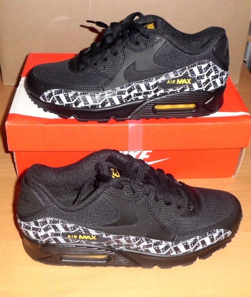sneakers for cheap c20da ff042 Nike Air MAX 90 Essential Trainers Rare Black Amarillo Size 7