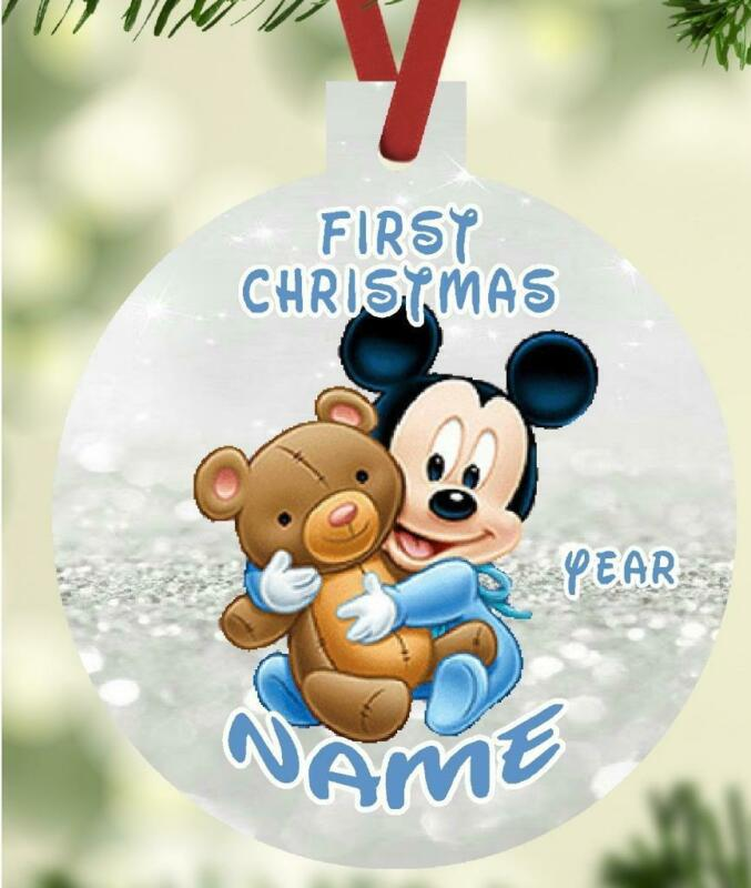 MICKEY MOUSE BABYs First Christmas Ornament Personalized Name Message Great Gift