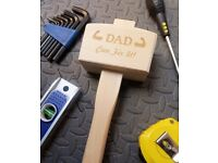 Personalised Wooden Mallet - GREAT GIFT FOR DAD! Choose Any Name or Message!!!