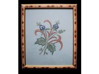 Small Floral Embroidery Artwork Framed Each