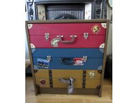 Vintage Look Pine Suitcase Chest Drawers.
