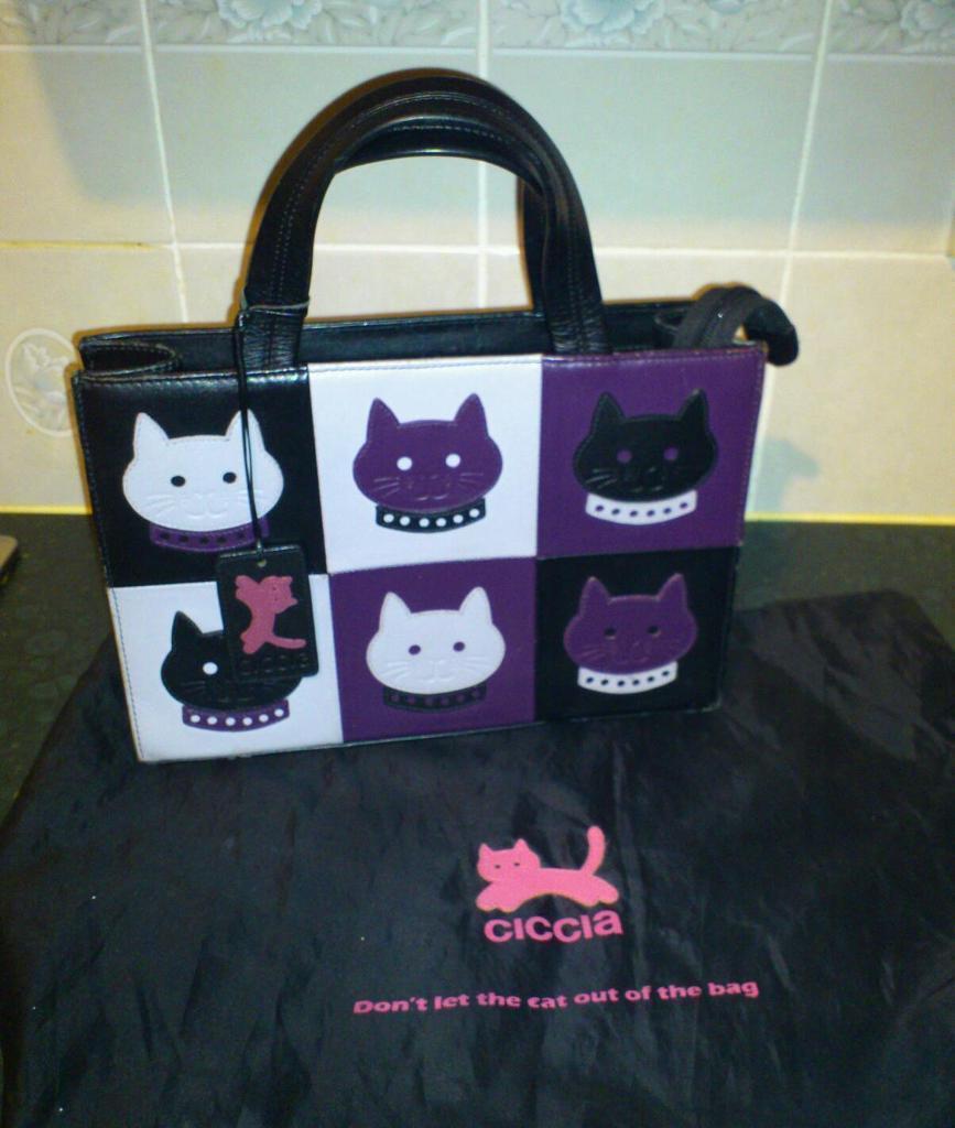 Ciccia Cat Face Grab Bag By Ex Radley Designer