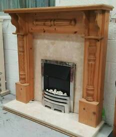 hand made tall fire surround with marble backing and Harth electric fire can deliver 07808222995