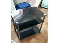 Tv unit side table black glass small
