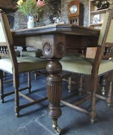 7ft Oak table and chairs