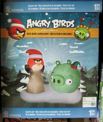 5 Foot Red Angry Birds + Green Pig Lighted Airblown Inflatable - New in Box NIB