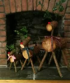 Rustic Log Reindeer
