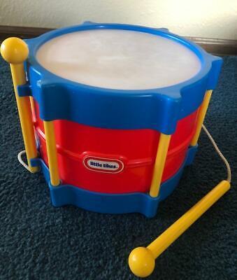 LITTLE TIKES BABY TODDLER TOY MUSICAL INSTRUMENT-VTG DRUM/STICKS SET -Clean!