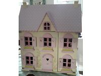 ELC Rosebud cottage Dolls House and furniture