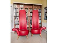 Red leather lounge chairs - 'Andreu World' Spanish designer and Joan Miró inspired