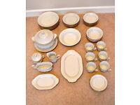 Chodziez 44 Matching Piece Tea & Dinner Set Made In Poland White Gold Detail