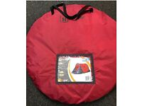Two person pop up tents - red/grey with carry bags