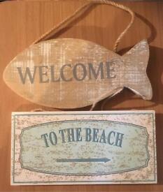 Beach themed signs