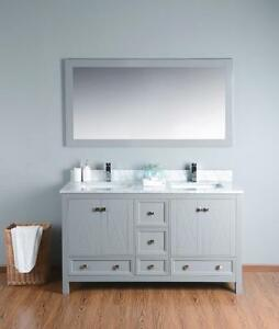 "60"" Solid Wood Vanity with Mirror CLEARANCE SALE"