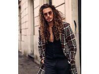Mens ZARA checked coat SMALL 36 38 jacket plaid white red black maroon S M wool 40 all saints New