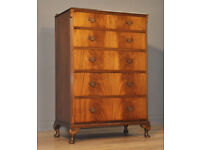Attractive Large Vintage Flame Mahogany Chest Of Six Drawers