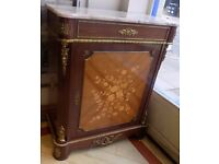 Ormolu French Louis Style Gilt Marquetry Marble Top Cabinet