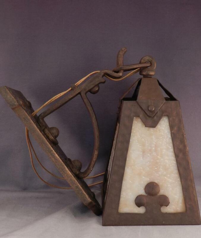 Antique  Arts & Crafts~Mission Porch Light~Lamp~Sconce~Caramel Slag Glass~VGC