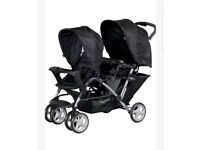 Graco Stadium tandem pushchair duo stroller double oxford New black pram baby twin with raincover