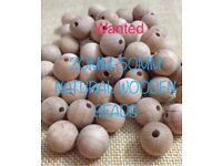WANTED:natural wooden beads various sizes