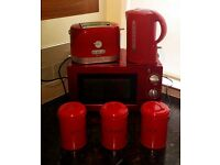 Red Kitchen Appliances Microwave Kettle Toaster Tea Coffee Sugar Tins Set