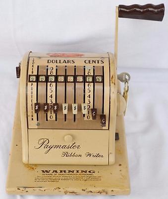Vintage Paymaster Ribbon Writer Series 8000 Bank Check Money Order with Key