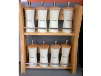 pine spice rack with ceramic pots