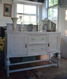Classic vintage pale grey sideboard / dressing table in solid oak