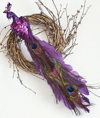 Purple Jewel Tone Peacock Feather Christmas Tree Wedding Ornament 15 inches