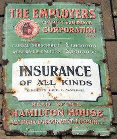 Large Antique Enamelled Metal Sign