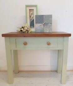 Console table / Desk solid pine top painted legs one drawer cooking apple green Farrow & Ball paint