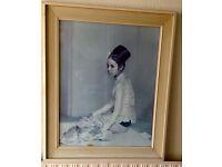 Mid Century 1960S Fine Art Print/Picture/Painting Burmese Princess Saw Ohn Nyun 61cmx72.5cm