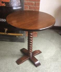 Wooded Pub / Bar Table With Round Polished Top