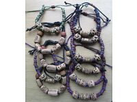 "11 x BRACELETS - CLAY BEAD & CORD 8"" ADJUSTABLE - NEW"
