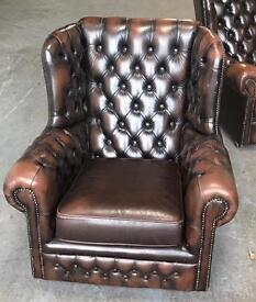 Brown leather Chesterfield Wingback chair WE DELIVER UK WIDE