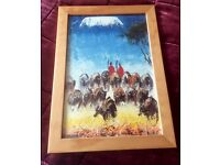 Genuine South African Painting of Masai, framed, reds and blues