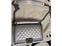 Chanel Le Boy Silver Caviar Leather Medium Handbag