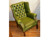Chesterfield green Queen Anne wingback armchair tub vintage chairs leather antique seating lounge
